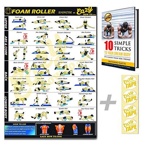 Eazy Wie Schaum Roller Poster Übung Workout Big 51 x 73cm Entspannen, Strecken, heilen Muskel-Therapie Home Gym Chart