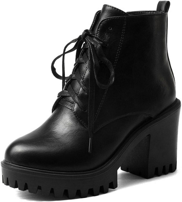 CarziCuzin Women Chunky High Heel Martin Boots Platform Method Two shoes