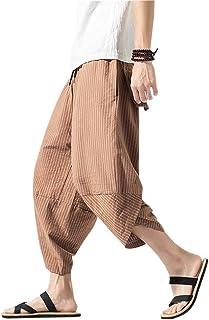 comprar comparacion Hombres Harén Pantalones Bombachos Cómodo Respirable del Verano Pantalones de Lino Ligeros Suelto con Pantalones de Cordón...