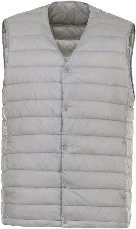 IGJMOD Men Down Vest Ultra Light Down Vest Portable V-Neck Coat Man Winter Warm Liner Light Gray XL