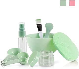 Face Mask Mixing Set, MANT 9 Pcs DIY Facemask Mixing Tool, Facial Mask Mixing Kit Bowl Spatula Brush Spray Bottle Puff Soaking Bottle Gauges (Green)