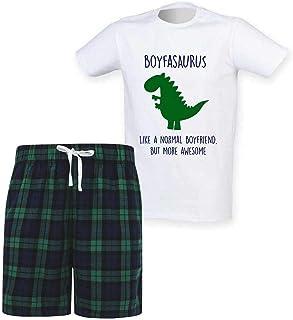 60 Second Makeover Limited Mens Boyfriend Dinosaur Christmas Tartan Short Pyjama Set Family Matching Twinning
