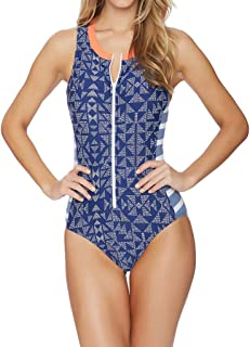 672132fa44 Oufenli Women s  One Piece Swimwear Grid Printed Zipper Sport Style Monokini  Tummy Control