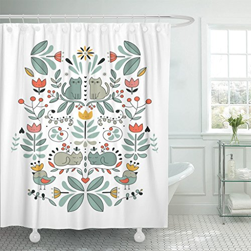 Emvency Shower Curtain Funny Swedish Folk Cartoon Cats Birds and Flowers Ethnic Waterproof Polyester Fabric 60 x 72 Inches Set with Hooks