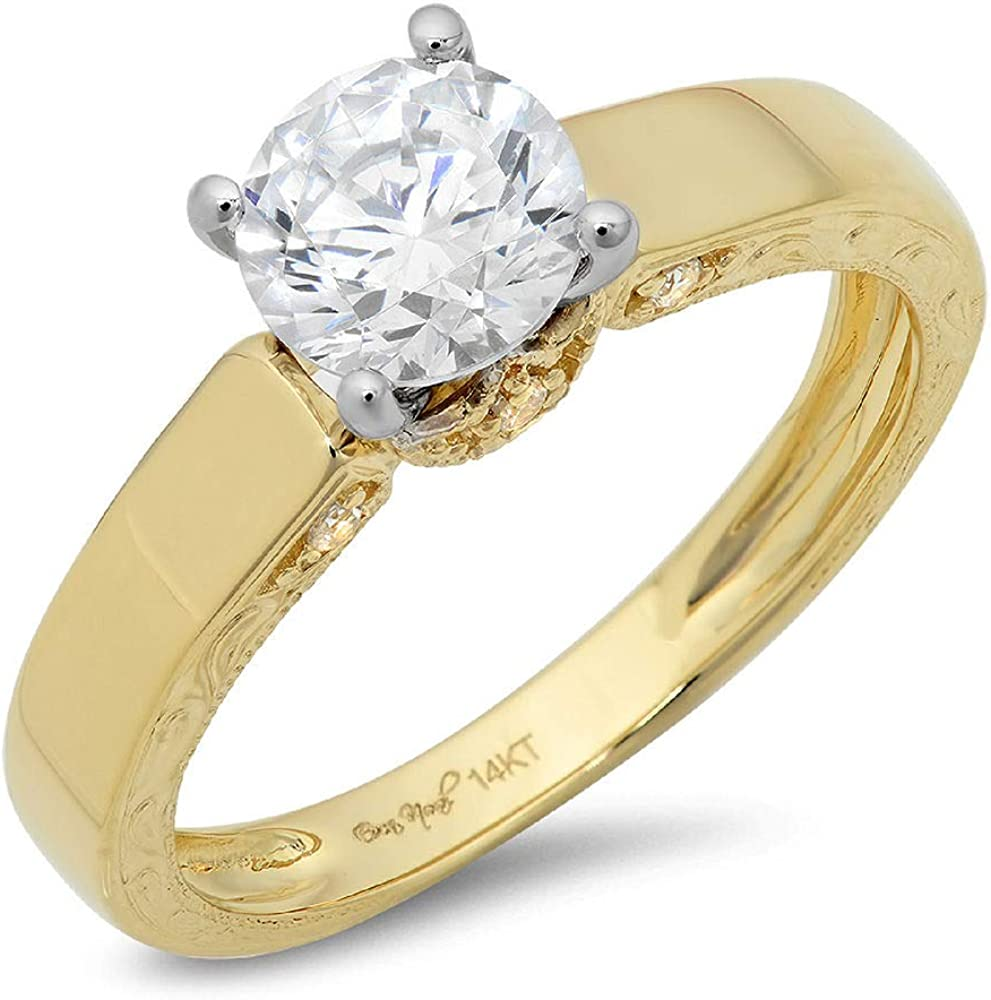 Clara Pucci 1.9 Ct Round Cut Promise Bridal Engagement Promise Wedding Anniversary Ring 14K Yellow White Gold