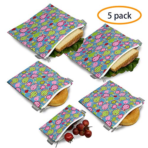 Reusable Sandwich Bags Snack Bags - Set of 5 Pack, Dishwasher Safe Lunch Bags with Zipper, Eco Friendly Food Wraps, BPA-Free. (Fish)