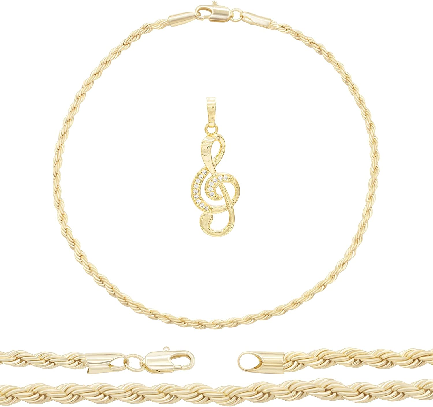 BEBERLINI Music Note Pendant 14K Gold Filled Cubic Zirconia Rope Chain Anklet 10