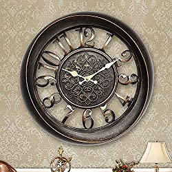 GGoodd 13 Inch Modern Large Wall Clocks - Battery Operated Non Ticking Elegant Wall Clock Silent, Quiet Analog Quartz Home Decor Vintage Decorative Wall Clock for Living Room, Kitchen, Rustic Brown,A