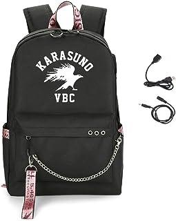 Anime Haikyuu Mochila Casual Mochila Personalidad Bolsos Escolares Casual Daypacks con Puerto de Carga USB para Unisex