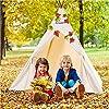 WolfWise Tenda Teepee per Bambini – Tenda Gioco Classica Indiana per Bambini con Cinque Pali di Legno, Tela in Canapa in Cotone Naturale al 100%, Regalo per Bambini e Bambine per Interno #2