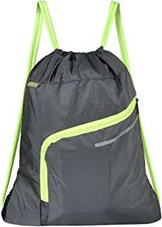 Saigain Gym Sack Large Drawstring Backpack Sport Bag Sackpack with Zipper for Men & Women,Grey