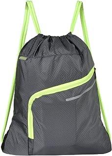 Saigain Gym Sack Large Drawstring Backpack Sport Bag Sackpack with Zipper for Men & Women,Grey