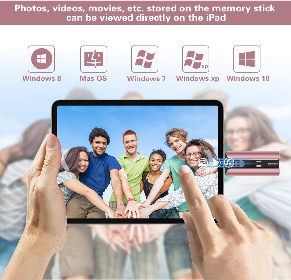 Black USB Flash Drive for iPhone 256GB Memory Stick Thumb Drives High Speed Jump Drive Photo Stick External Storage for iPhone//iPad//Android//PC