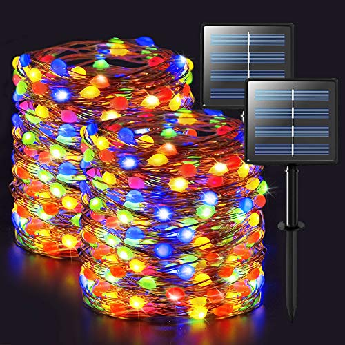 JMEXSUSS Super Bright Oversize Solar Christmas Lights, 2 Pack 66ft 200 LED Solar String Lights Outdoor Waterproof, 8 Modes Multicolor Copper Wire Solar Fairy Lights for Patio, Wedding, Party, Yard