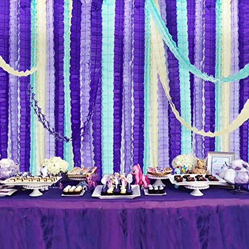 12 pcs Mermaid Four Leaf Clover Paper Garland 10ft Purple Lavender Party Streamers Tissue Flower Reusable Hanging Banner for Wedding Baby Bridal Shower Home Party Backdrop Decoration