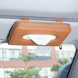 U&M Car Tissue Box Holder, Premium Leather Zipper Sun Visor Napkin Holder Backseat Tissue Case Car Accessories (Brown)