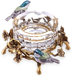 Ash Tray Cigar Crystal Magpie Exquisite Bronze Large Caliber Three-smoke Personality Living Room Decoration, Round, Best G...