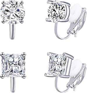 YOQUCOL 2 Pairs Clip On Earrings 8MM Cubic Zirconia Crystal Non Pierced Clip On Stud Earrings For Women Girls