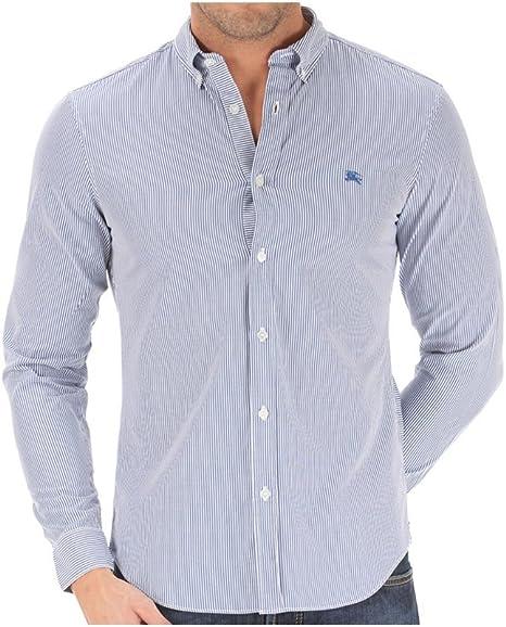 Burberry Camisa de rayas vestir para hombre azul azul: Amazon ...