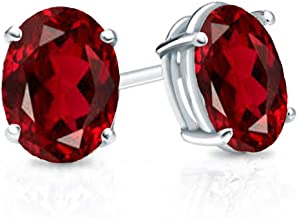 Dazzlingrock Collection 14K 7x5 mm each Oval Cut Ladies Solitaire Stud Earrings, White Gold