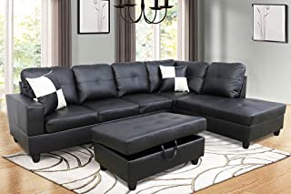 Furniture 3-Piece Black Contemporary Leather Living Room...