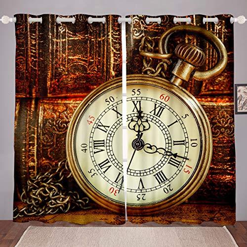 Cortinas de Reloj de Bolsillo Vintage Paneles de Cortina para niños y Occidentales de Vaquero Cortinas Opacas de Reloj Viejo Cortinas térmicas,de la habitación W66 x L72