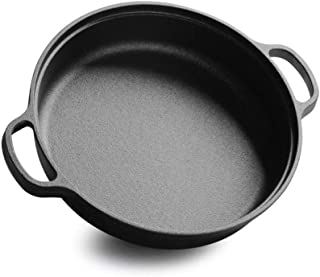 Poêle Wok en Fonte Poêle à Frire à Double Oreille Poêle en Fonte Poêle Non revêtue Cuisinière à Induction Batterie de Cuis...