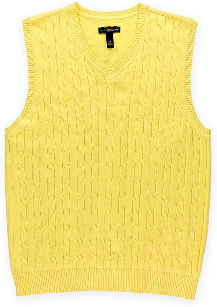 Club Room Mens V Neck Cable Knit Cotton Sweater Vest M