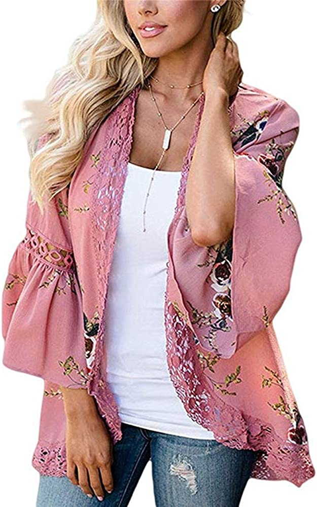 Womens Kimono Cardigans Floral Print Chiffon Beach Cover ups Loose Casual Tops (Pink 0,L