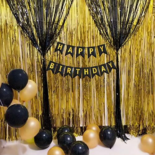 Longra Zwarte en goudkleurige banner met tissue-pompons en ballonnen voor feestdecoraties