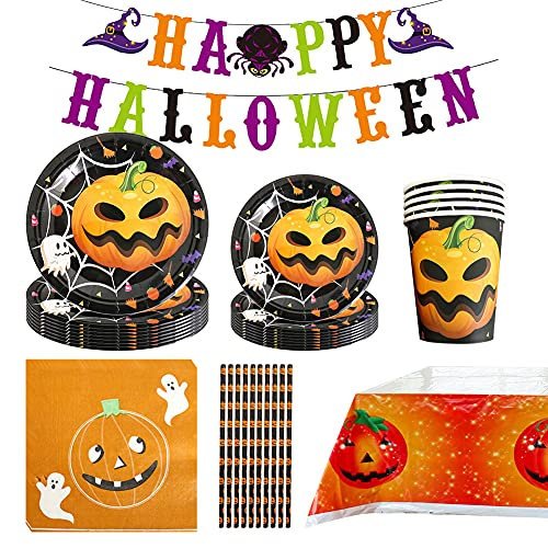 Formemory 77 Pcs 10 Guests Halloween Party Tableware Set – Halloween Party Supplies Decoration, Halloween Dinnerware Including Paper Plates Cups Napkins Straws Tablecloth and Banner
