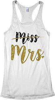 Women's Crossed Out Miss New Bride Mrs. Racerback Tank Top