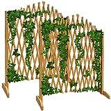 Deuba Gartenzaun Rankhilfe Rankgitter Holzzaun Pflanzengitter 200 cm zusammenfaltbar variabel verstellbar 2er Set
