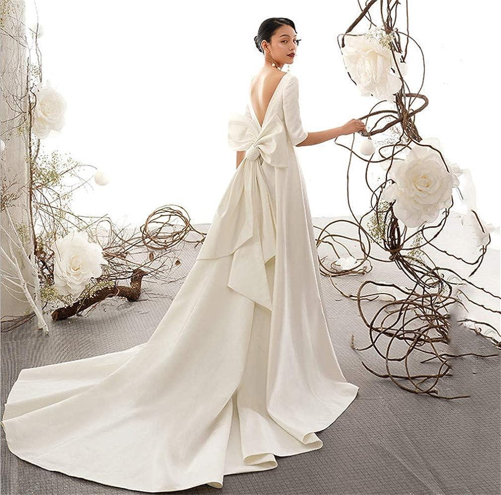 L-ELEGANT Wedding Dress, Europe and America Retro Satin Princess Round Neck Sleeve Bow Decoration Bride Wedding Dress