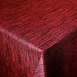 Wachstuch Robuste Leinen Prägung Pro Rot Breite & Länge wählbar - Größe ECKIG 120 x 170 bzw. 170x120 cm cm abwaschbare Tischdecke Gartentischdecke