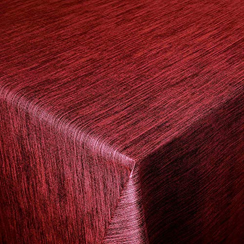 Wachstuch Robuste Leinen Prägung Pro Rot Breite & Länge wählbar - Größe ECKIG 80 x 110 bzw. 110x80 cm cm abwaschbare Tischdecke Gartentischdecke