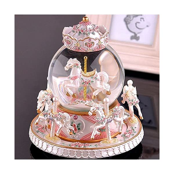 Luxury Carousel Music Box Crystal Ball Music Box with Castle in the Sky Tune Creative Home Decor Ornament Gifts Perfect… 3