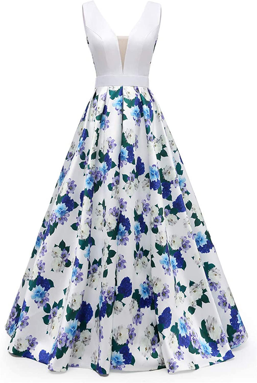 FWVR Floral Print Evening Dresses for Women Formal Long Prom Wedding Party Gowns
