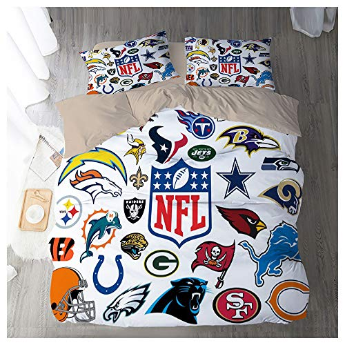 HOXMOMA American Football Duvet Cover with NFL Team Logo and 2 Pillowcases, Teens Bedding Set 3 Piece, Soft Microfiber Quilt Cover for Kid & Adult,White,EU 220x240