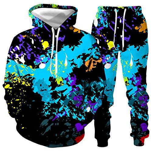 DREAMING-Sudadera con capucha Top de manga larga Ropa sanitaria casual + pantalones Traje de 2 piezas Traje deportivo con estampado digital 3D de salpicaduras de hombres y mujeres 3XL