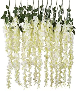 12pcs Artificial Silk Wisteria Vine Ratta Hanging Flower Garland String for Home Party Wedding Decor, White