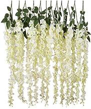 12pcs Artificial Silk Wisteria Vine Ratta Hanging Flower Garland String for Home Party Wedding Decor, White