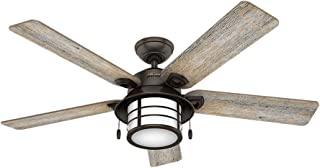 Hunter Indoor / Outdoor Ceiling Fan with light and pull chain control - Key Biscayne 54 inch, Onyx Bengal, 59273