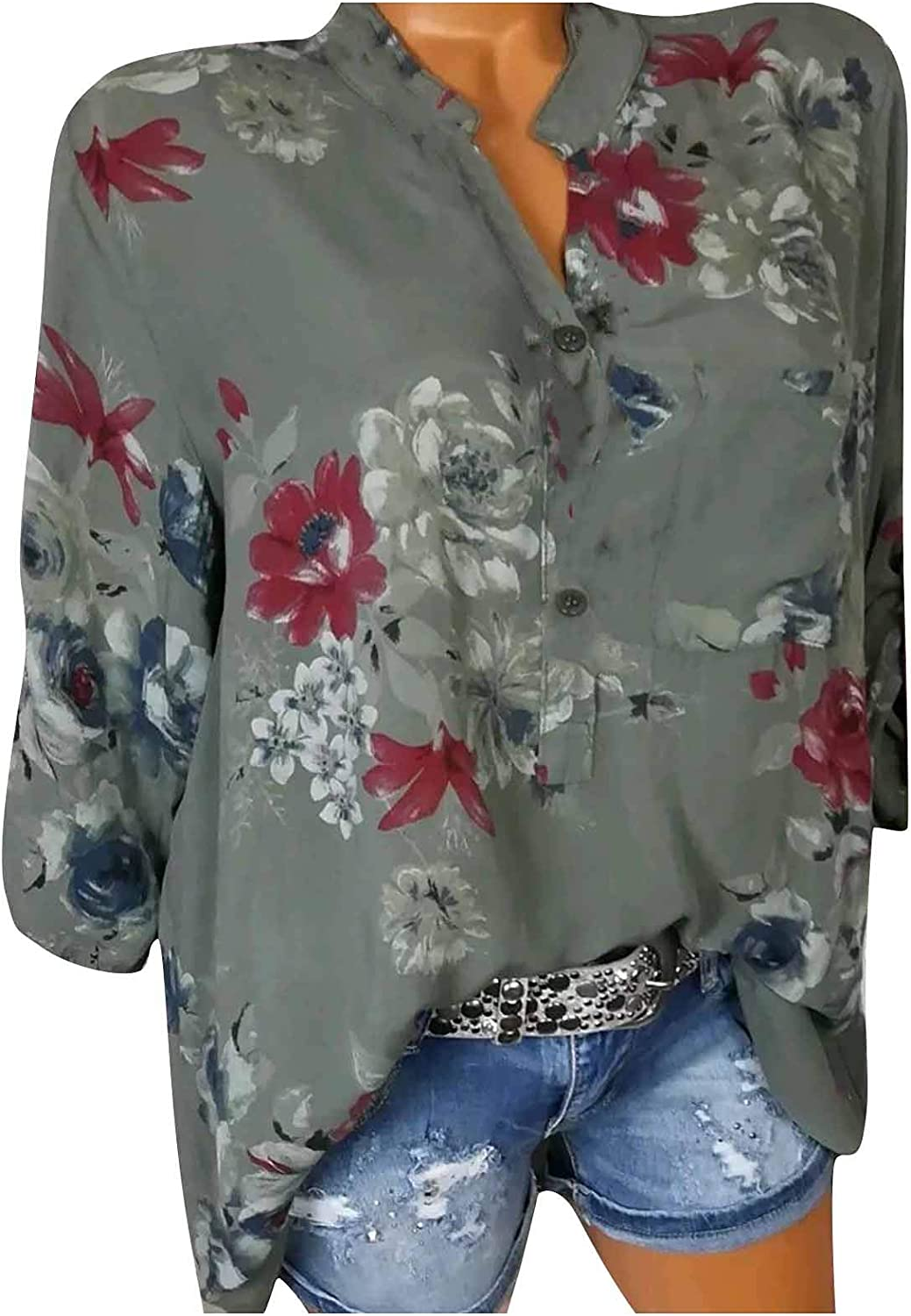 Mimacoo Floral Print Shirt for Womens Neck Blouse V Ranking TOP16 Sleeve Short Popularity