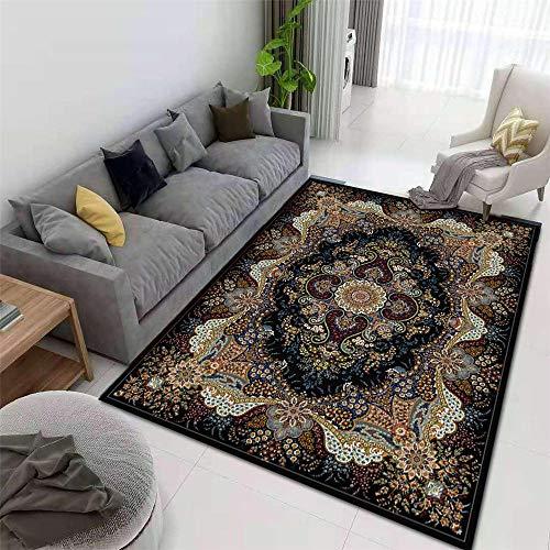 La alfombras Alfombra Limpieza Patrón Floral de Doodle de Estilo Retro Europeo Rojo marrón Negro Decoracion Alfombra habitacion niña Alfombra Moderna 180*280cm