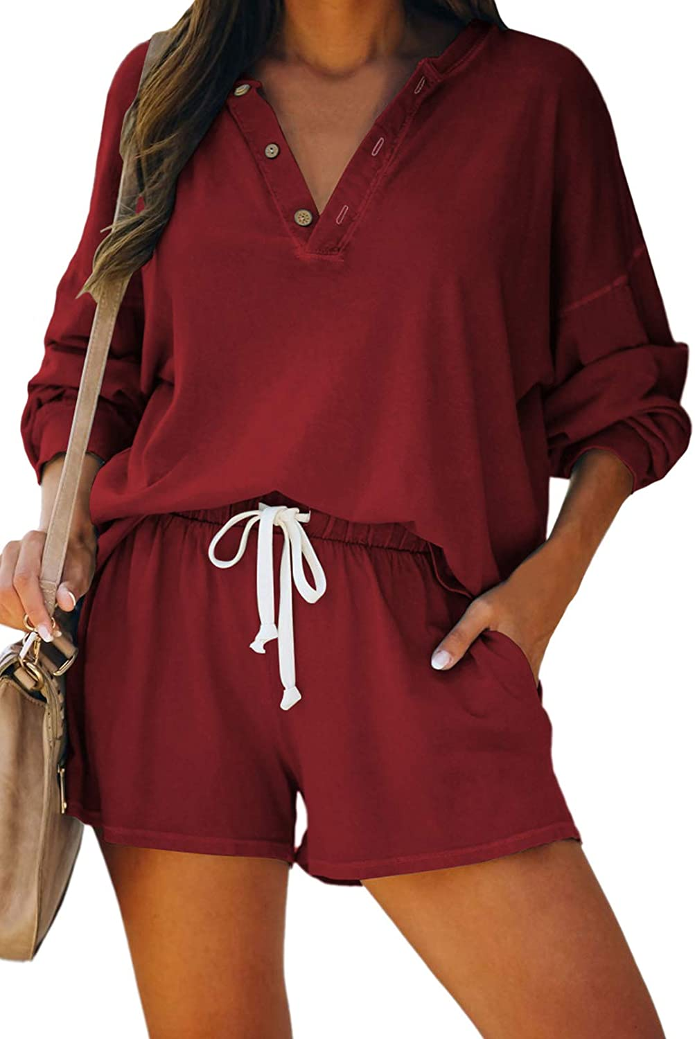 Linsery Women Casual Sweatsuit Long Sleeve Tops and Shorts Pajamas 2 Piece Outfits