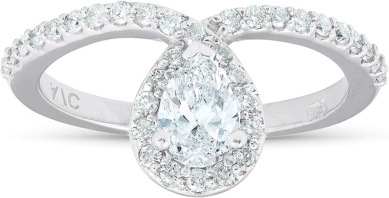 3/4 Ct Pear Shape Halo Diamond Twist Engagement Ring 14k White Gold