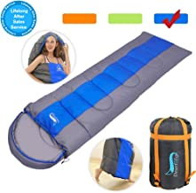 Camping Sleeping Bag, Lightweight & Waterproof for Adults, 4 Season Envelope Sleeping Bags Great for Indoor & Outdoor Use Warm & Cool Weather Hiking Backpacking Traveling with Compression Sack