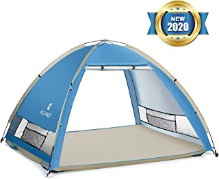 SGODDE Large Pop Up Beach Tents Sun Shelter for 4-5 Persons 2020 New UPF 50+ Anti UV Beach Tent Sun Shade Canopy, Portable Automatic Tent Instant Easy Outdoor Cabana for Baby, Family, Adults, Fishing