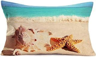 YANGYULU Beach Pillow Covers Decorative Throw Pillow Case Cotton Linen Summer Holiday Coastal Theme Decor Home Sofa Bed 12...